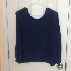 Blue cable knit sweater over sized vintage vibe
